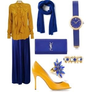 Royal blue with yellow chic hijab outfit follow for more.