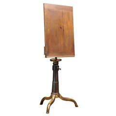 1870s Victorian Wood Cast Iron Drafting Table Podium Stand Desk