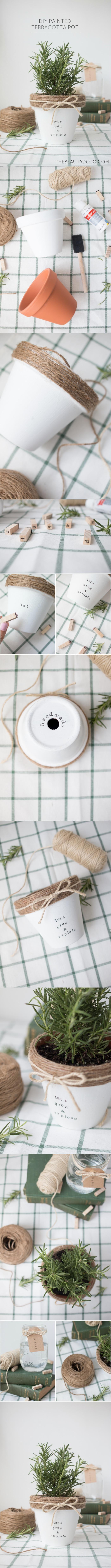 Macetas decoradas con cuerda - thebeatydojo.com - DIY Painted Terracota Por