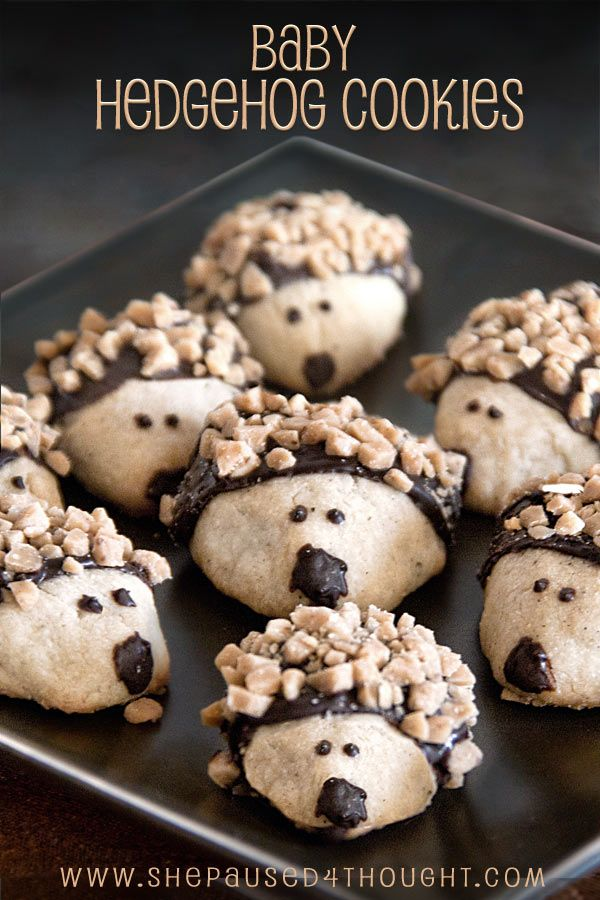 "<p>I know, I know--these are almost too cute to eat, but notice I said ""almost."" Make someone's week by baking these unbelievably adorable shortbread cookies which look like baby hedgehogs. Easy step by step directions are included. <a href=""http://www.cathyarkle.com/shepaused4thought/baby-hedgehog-cookies/"">FULL RECIPE HERE</a></p>"