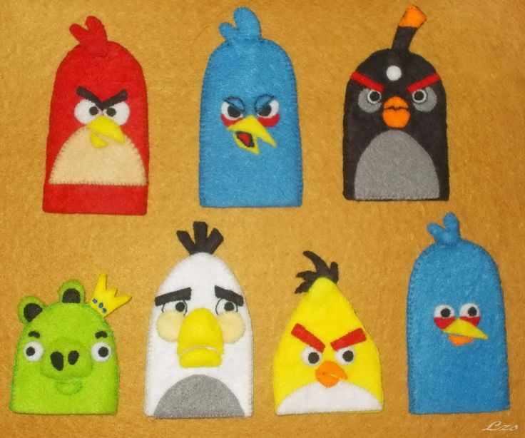 Angry Birds  (felt finger puppets)