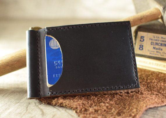 Slim leather wallet Men's money clip wallet front от MMVILeather