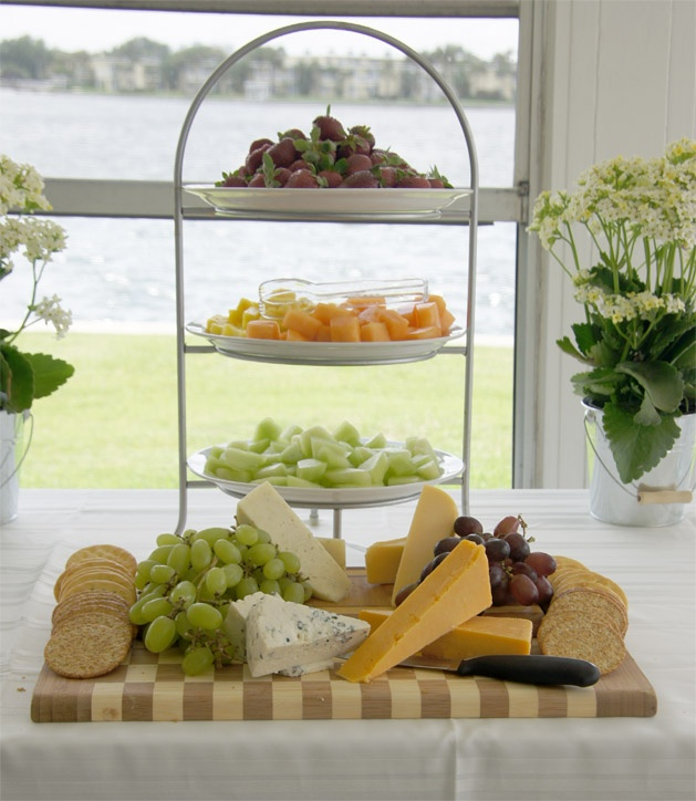 Fruit and Cheese platter, bridal shower, party @Nicole Novembrino Zaccari I MIGHT ACTUALLY HAVE THE 3 TIERED PLATES