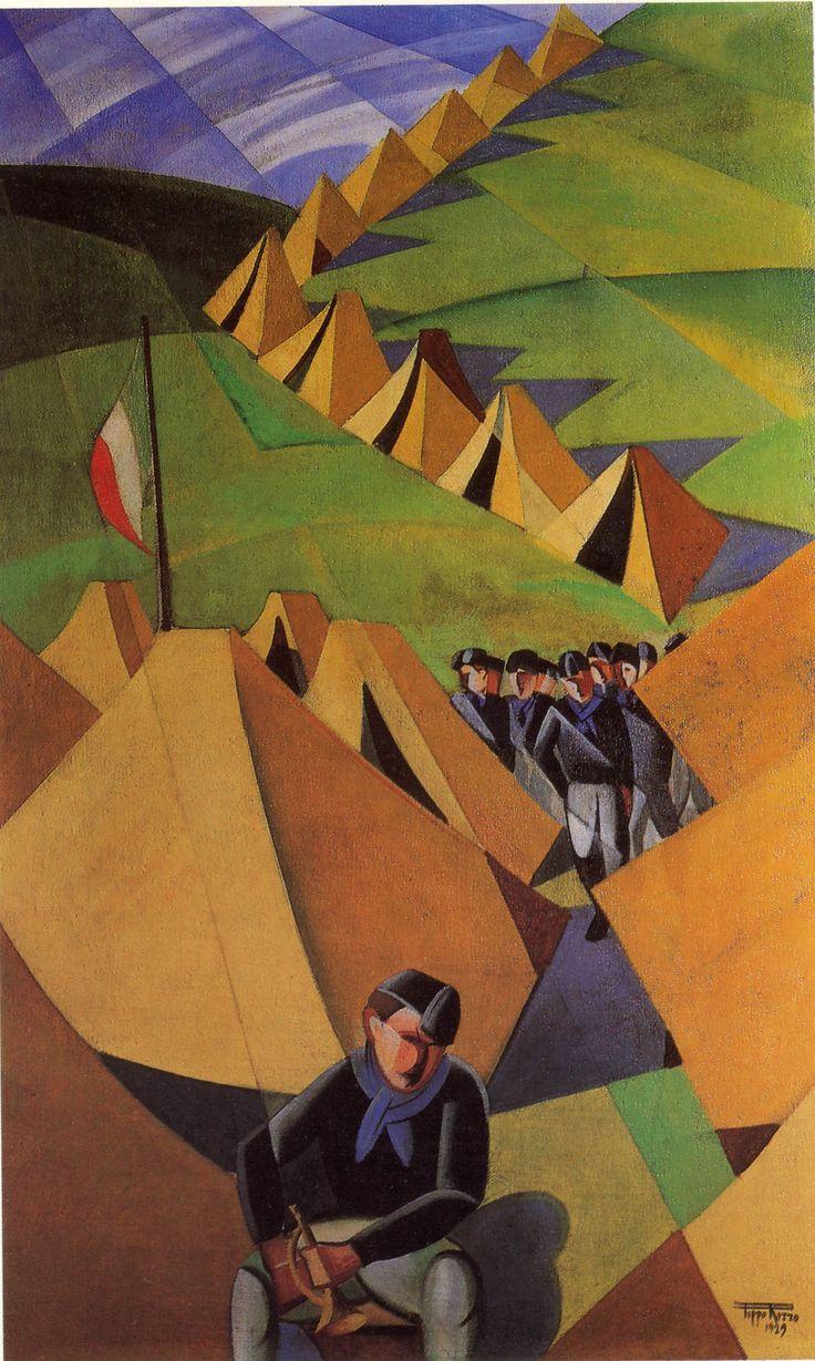 Campeggio dei balilla, 1929 by Pippo Rizzo (Italian 1897-1964)