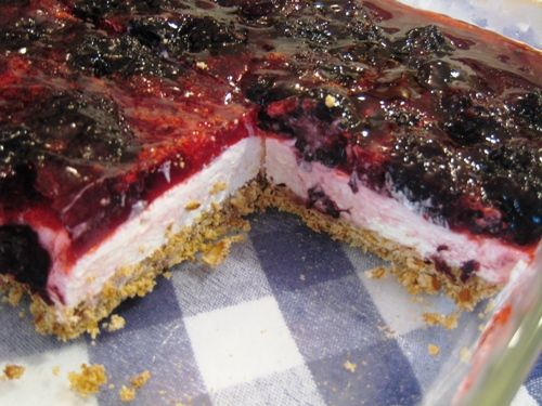 """Pretzel Berry Dessert - modifications to the traditional """"strawberry pretzel salad"""" - the filling is cheesier, the berries firmer, the dessert even more awesome than you ever remembered."""