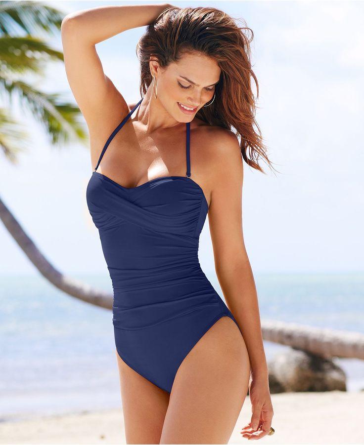 La Blanca Swimsuit, Ruched Bandeau One-Piece