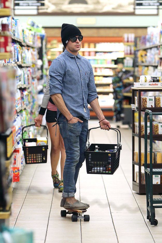 I heard you go grocery shopping on your two feet, but Zac Efron does it on his skateboard. :)