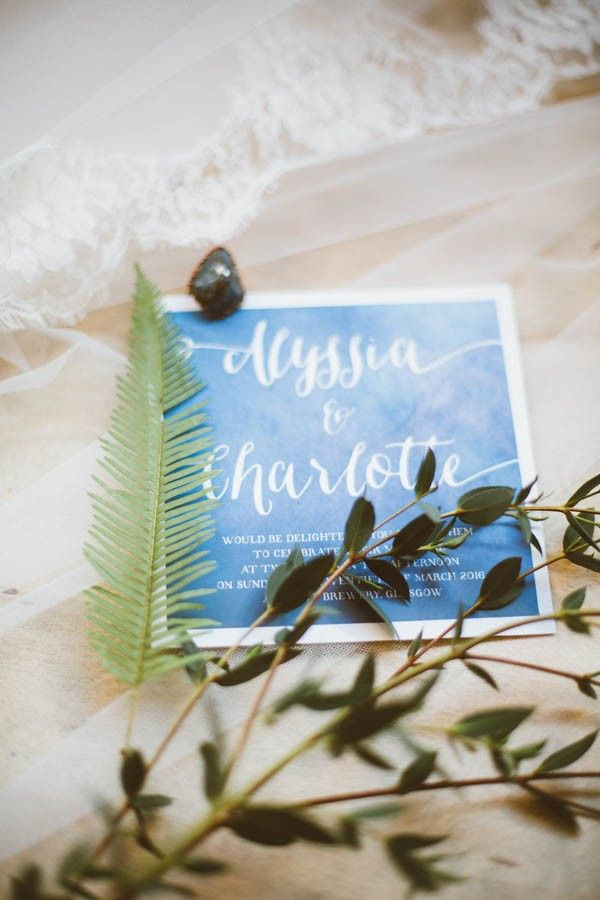 COM BOSSA WEDDING STATIONERY // bohemian blue watercolour invites / Modern Vintage Bridal Inspiration in Joyce Young Couture