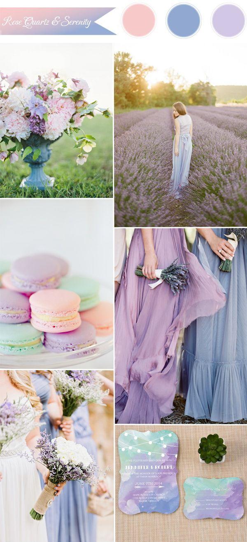 color Pantone del año 2016 - cuarzo, serenidad e ideas combo de color rosa lila de la boda