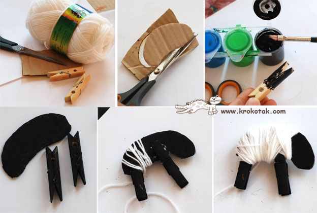 cardboard + yarn + clothespins = lamb craft