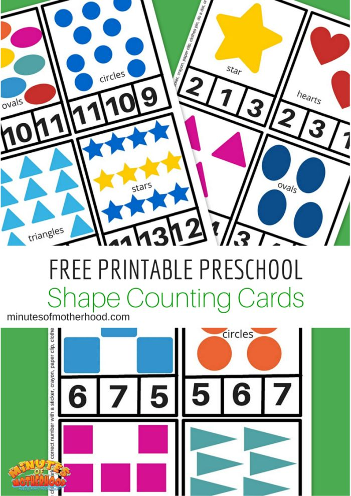 Free Printable Preschool Shape Counting Cards. Card 1- 12 With shapes and names on each card.
