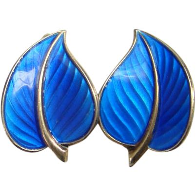 Vintage Modernist Hans Myhre Sterling Silver Clip Earrings Blue Enamel from americanbeautydolls on Ruby Lane