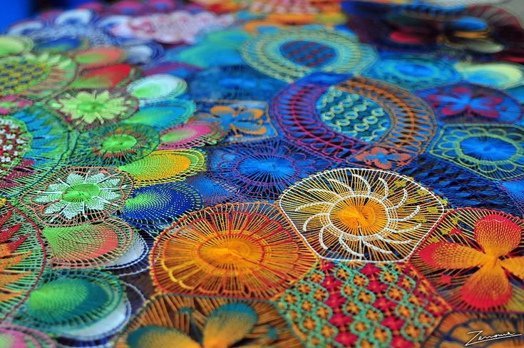 ñanduti lace from Paraguay. colors so rich