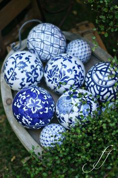 Platter of Porcelain Carpet Balls / Two sizes, blue, blue and blue.