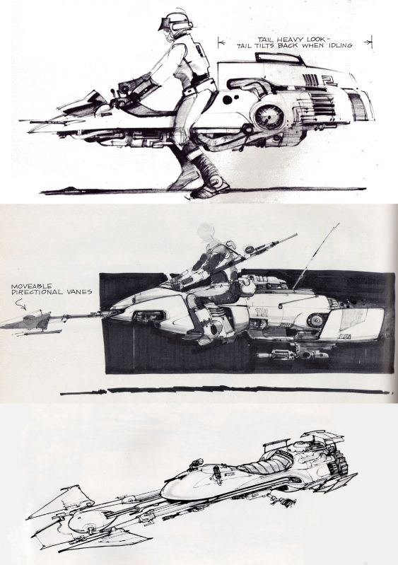 STAR WARS EPISODE VI: RETURN OF THE JEDI Speeder Bike Concept Art by Joe Johnston, Nilo Rodis-Jamero and Ralph McQuarrie | RAR Writes