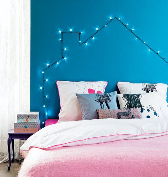 DIY String Light Headboard - Disguises the fact that you're still sleeping on doubled-up mattresses in your early 30's!