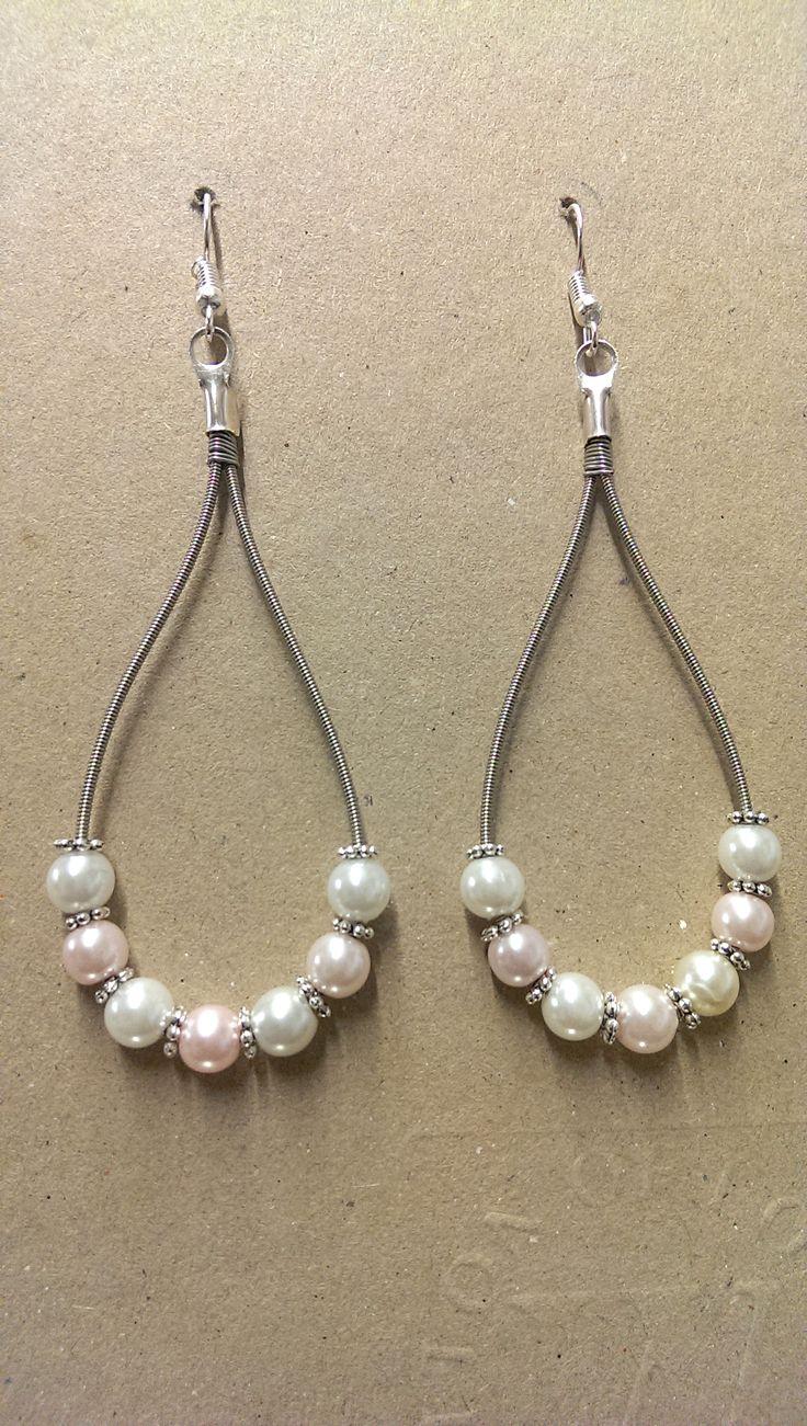 Pearl Guitar String Earrings