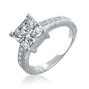 Sterling Silver 2.9 ct Princess CZ Engagement Ring size 5 (more sizes)