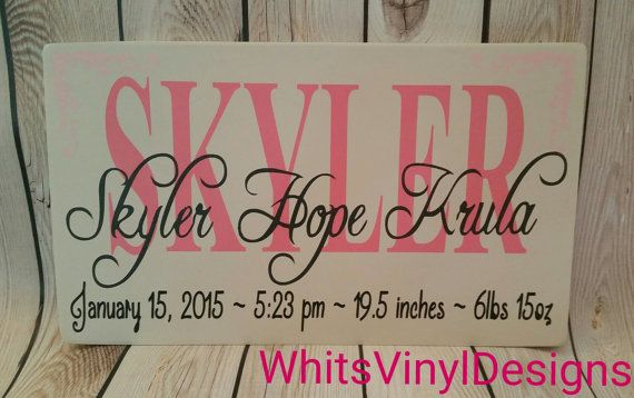 Birth Announcement Sign Baby Sign Wooden Baby by WhitsVinylDesigns