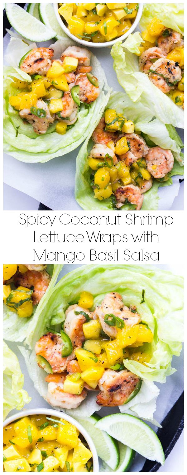 Quick and easy dinner or appetizer - spicy coconut milk marinated shrimp, grilled, and topped with fresh mango salsa | littlebroken.com @littlebroken