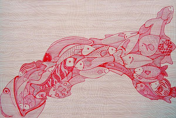Drawing by Cosmin Bicu - gel pens on cardboard