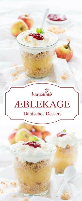 Dessert Rezept - Æblekage aus Dänemark.  Dänischer Dessert-Klassiker und obwohl es  übersetzt Apfelkuchen heißt, ist es genau genommen kein Kuchen! Rezept von herzelieb.  #Dänemark #Foodblogger #Foodblog