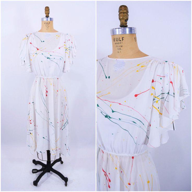 1980s dress vintage 80s sheer white paint splatter flutter sleeve dress M by StorylandVintage on Etsy