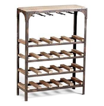 Gallatin Industrial Metal Rustic Wood Narrow Console Wine Rack
