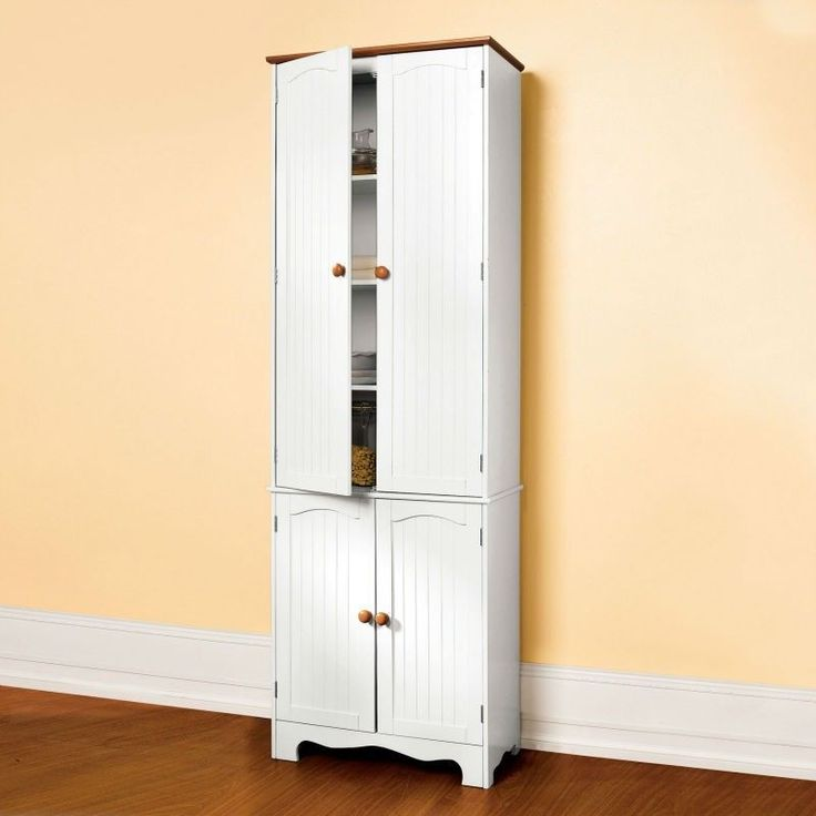 Homecharm Intl Hc  Kitchen Pantry Cabinet White With Honey Top