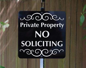 No Soliciting Yard Sign with Yard Stake. Stop solicitors from