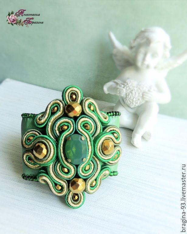 """Купить Сутажный браслет """"Изумрудный"""" - ярко-зелёный, браслет, Браслет ручной работы, браслет с камнями"""