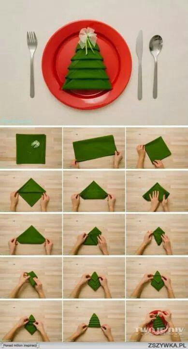 Creative way to fold napkins for Christmas