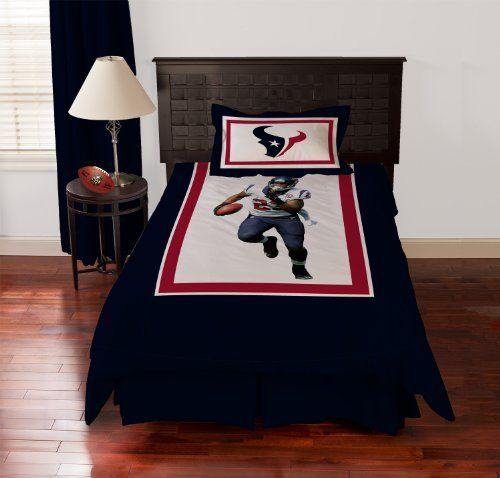 Biggshots Houston Texans Arian Foster Comforter Set, Twin by Biggshots. $174.94. Football room decor with NFL team colors. Official NFL and NFL player association license team bedding. 100 percent polyester plush super select fiber filling and machine washable. Crisp true life action imagery by Biggshots. Set includes comforter and bed skirt and pillow sham. Experience the action and get in the game with your favorite Biggshots NFL player twin comforter set. NFL football fans w...