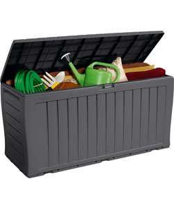 Grey Keter Wood Effect Plastic Garden Storage Box.