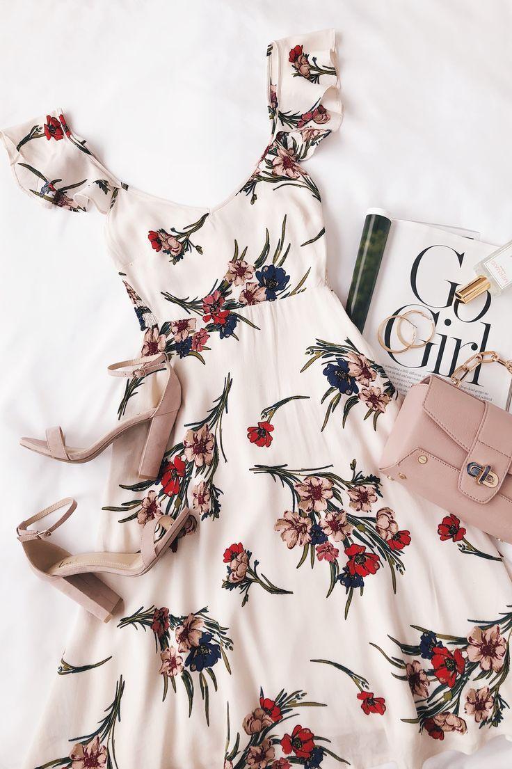 Take a Bow-quet Blush Floral Print Midi Dress – Michelle Romero