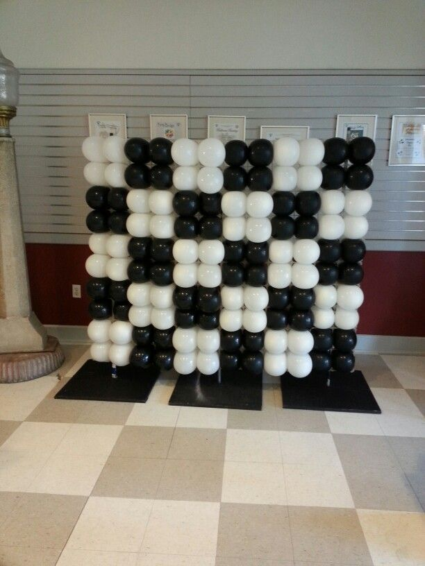 Black Amp White Checkered Wall Balloon Decorations By
