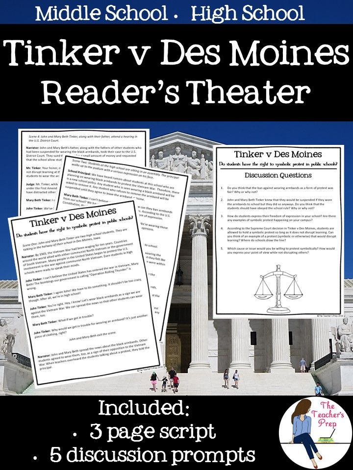 Learning about a major landmark Supreme Court case has never been more engaging! The Tinker v Des Moines Reader's Theater is a perfect addition to the Civics curriculum in middle school or high school.