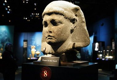 A giant stone head of Caesarion, the son of Cleopatra and Julius Caesar, is on display at the Cincinnati Museum Center.
