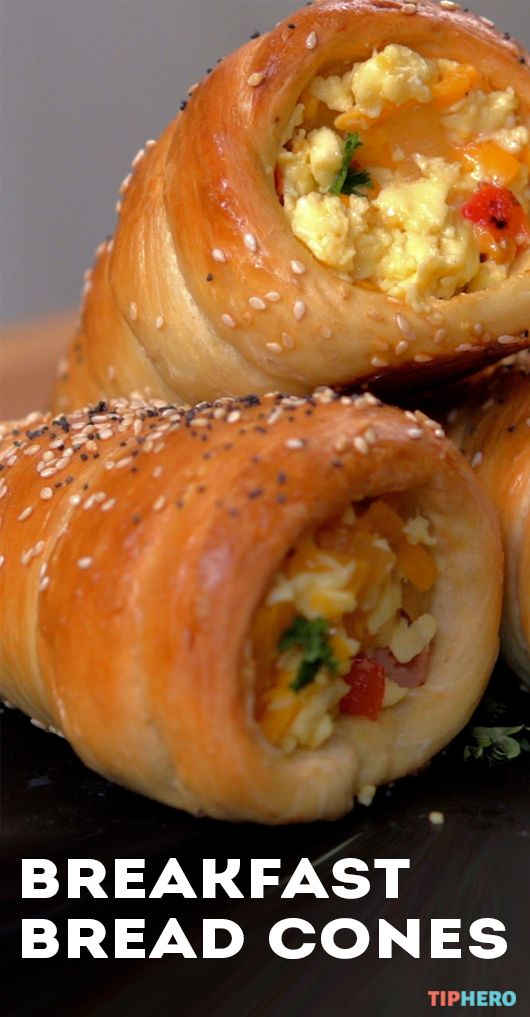 Breakfast Bread Cones Recipe | This flaky pastry is the perfect addition to your brunch or for a breakfast on the go.  Fill with scrambled eggs as shown or with fruits, pastry cream or even tuna or egg salad. Click to see how easy they are to make! #easyapps #brunchideas