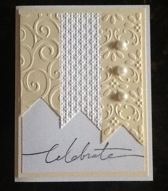 "Gorgeous Cream & White ""Celebration"" Card...sing embossing folders.  This is so simple yet elegant.  Picture only for inspiration."