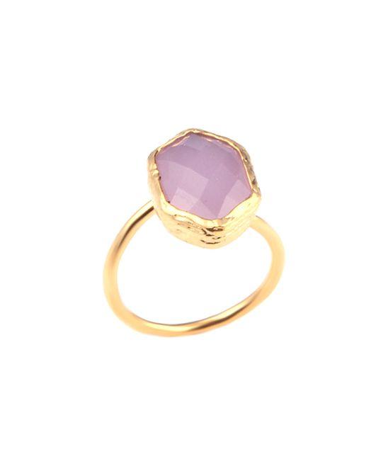 Pink Quartz & Gold Hexagon Solitaire Ring