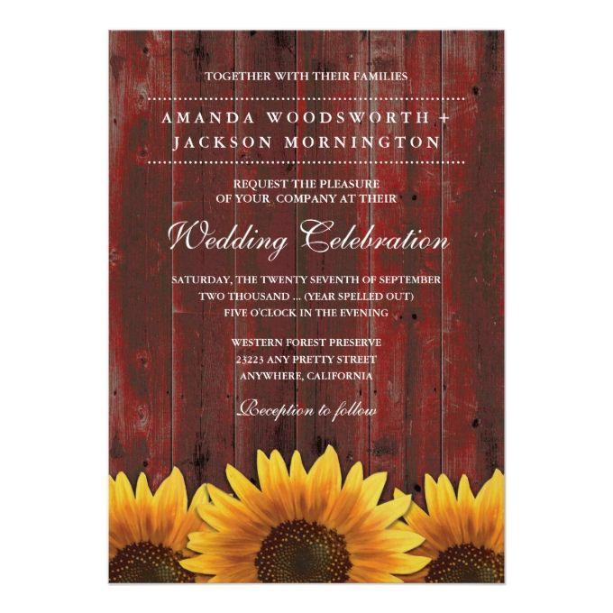 Red Barn Wood Rustic Sunflower Wedding Invitations