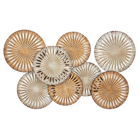 Featuring an abstract design, this gold-finished wall decor brings chic style to your living room or hallway. Hang it alone as an artful focal point, or grou...