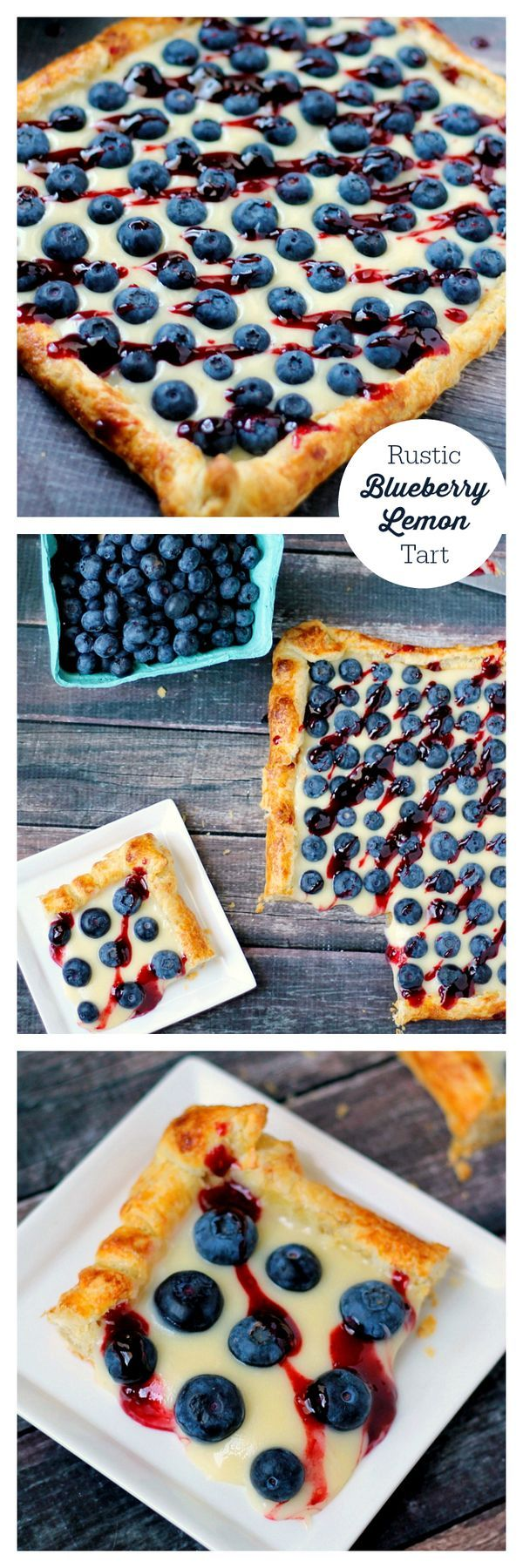 Rustic Blueberry Lemon Tart--with a flaky crust, creamy lemon filling and topped with fresh blueberries and preserves, just thinking about this luscious dessert makes me drool! Get this recipe today!