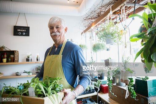 Stock Photo : Portrait of confident terrarium shop owner holding plants