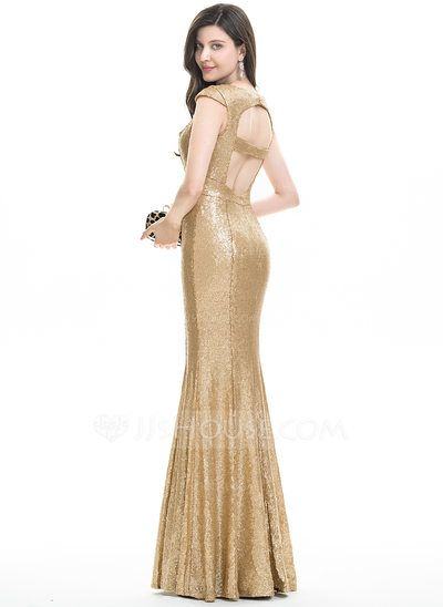 Trumpet/Mermaid V-neck Floor-Length Split Front Zipper Up Cap Straps Sleeveless No Gold Spring Summer Fall General Plus Sequined Hight:5.7ft Bust:32in Waist:24in Hips:35in US 2 / UK 6 / EU 32 Evening Dress
