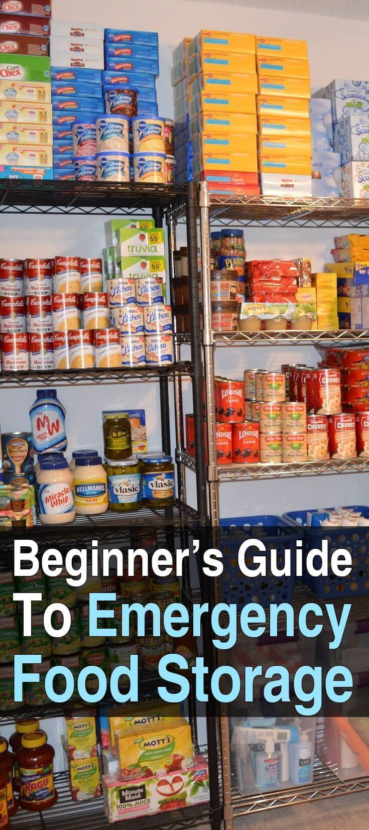 The Beginner's Guide To Emergency Food Storage. By the end of this guide, you will know the basics of food storage so you can start stockpiling the right foods in the right places to ensure your family has something to eat after a major disaster. #Foodsto