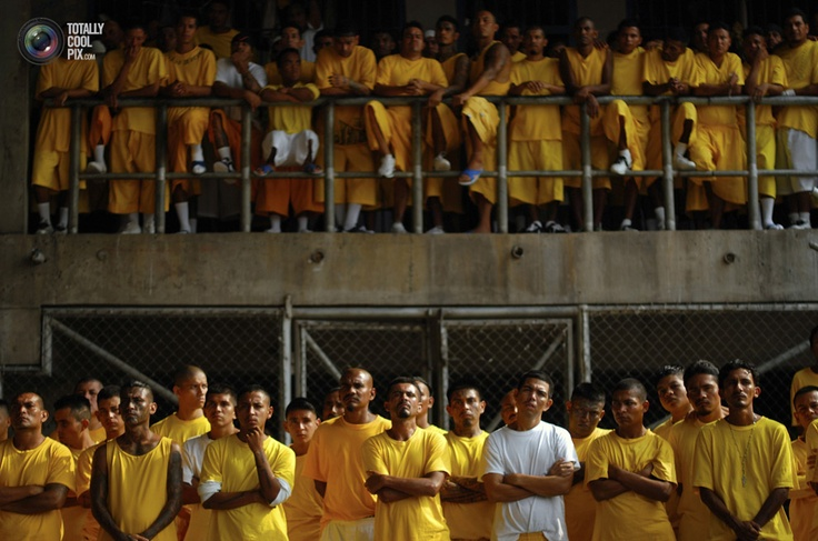 Members of the 18th Street gang attend a mass at the prison of Izalco. STRINGER/EL SALVADOR/REUTERS