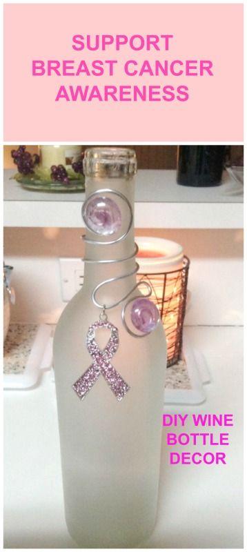 DIY Wine Bottle Decor - great for breast cancer awareness month, October www.shareyourcrafts.net