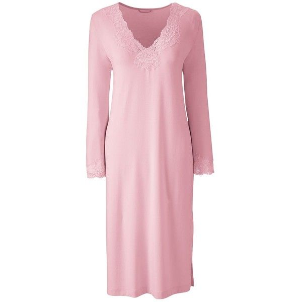 Lands' End Women's Petite 3/4 Sleeve Knee Length Nightgown ($30) ❤ liked on Polyvore featuring intimates, sleepwear, nightgowns, pink, pink nightie, petite sleepwear, pink nightgown, lands end nightgown and petite nightgown